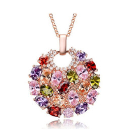 Women pendant necklace online shopping - Luxury Round Colorful Swarovski Amethyst Pendants Stainless Steel Jewelry Rhinestone Choker for Women Plated Gold Chain Designer Necklace