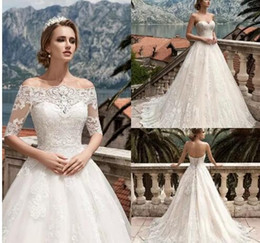 Pastel Short Wedding Dresses NZ - 2017 Off Shoulders A-line Wedding Dresses Lace Elegant Short Cap Sleeves Corset Back A-line Corset Back Bridal Gowns with Sweep Train