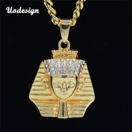Egypt Pendants Australia - Hip Hop Jewelry Crystal Egypt Pharaoh Pendant 60cm Box Chain Iced Out Necklace Fashion Accessories