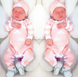 2018 new fashion baby girl clothes Cartoon pink cute newborn toddler jumpsuit+Hat 2pcs baby girl clothing infant clothing set on Sale