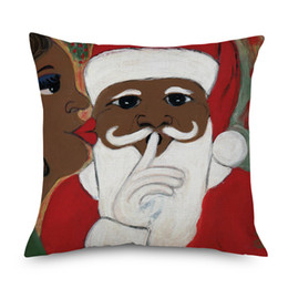 Chinese  African Santa Clause Cushion Cover Merry Christmas Festival Home Decorative Linen Pillows Cover for Sofa Chair Seat manufacturers