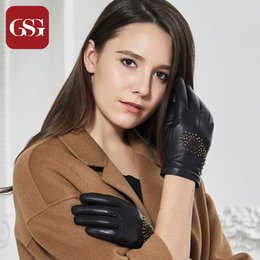 $enCountryForm.capitalKeyWord NZ - GSG Fashion Ladies Genuine Leather Touchscreen Gloves Embroidery Warm Lined Winter Driving Gloves Mittens for Women Female Black