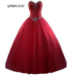 Strapless Sequin Red Dress Australia - New Royal Blue Quinceanera Dresses Tulle Crystal Beads Debutante Red Ball Gown Prom Dresses vestido de quinceanos