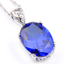 Chinese  2018 Direct Selling Ruby Jewelry Colares 2pcs lot Party Holiday Jewelry Gift Classic Vintage Oval Blue Topaz Gems 925 Silver Pendant p0311 manufacturers