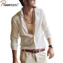 Sexy Army Shirts Australia - Phanteen Cotton Linen Men Shirts Long Sleeve Summer Hawaiian Style Shirts Sexy Slim Fit Casual Fashion Man Clothing