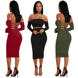 ladies sexy halter summer jumpsuits Canada - High Quality Summer Dodycon Dress Two-piece Set Women Jumpsuits Rompers Lady Sexy Halter Lace Dress Suits Long Sleeve Tops Tees Wholesale