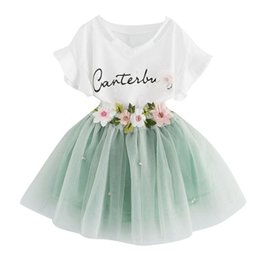floral print shirts baby UK - Kids Baby Girls Letters Printing Outfit Clothes Short Sleeve T-Shirt Tops+Floral Lace Tutu Skirt 2pcs Set Toddler Summer Clothing Sets