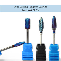 Carbide Coating Australia - electric drill 1 piece Blue Coating Tungsten Carbide Nail Art Drills Bits High Quality Electric Drills Accessories Manicure SA308