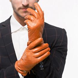 Men Gloves Leather Sheepskin Australia - Winter Mens Leather Gloves Fashion Men Sheepskin Wrist Solid Genuine Leather Male Plus Velvet Warm Driving Gloves Free Shipping