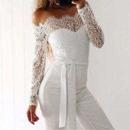 White lace bodysuit long sleeve online shopping - Women Summer Jumpsuit  Sexy Off Shoulder Long Sleeve 3ffe1c4fd