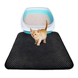 Padded Flooring Canada - Small Medium Large Waterproof Cat Litter Mat Pad Black Cats Litter Trapper Double Layer Nonslip EVA Protect Floor Feeding Mats