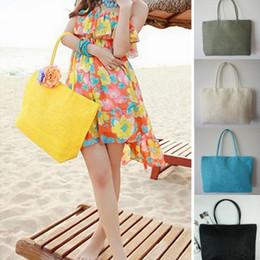 Handmade Women Shoulder Bag Summer Beach Bag Sandy Beach Weave Woven Straw  Shoulder Tote Purse Handbag Shopping soft weave beach bag on sale 9209b6cd66a2d
