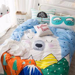 Bedsheet Cotton White Australia - 3D Bedding Kids Bedding Set 4pcs Duvet Cover Pillowcase Bedsheet Sets Soft Cotton Cartoon Princess Queen Linen Bed Sheet Set
