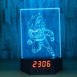 Discount power touch remote - 3D Illusion Running Goku Clock Lamp Night Light RGB Lights USB Powered 5th Battery IR Remote Dropshipping Retail Box