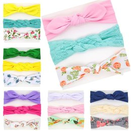 christmas headbands patterns NZ - Multistyle Girls headbands lace cotton printing bowknot hariband 3pc set 6sets dots solid color flower plants pattern hair accessory