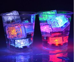 water color change plastic Australia - LED Ice Cubes Bar Fast Slow Flash Auto Changing Crystal Cube Water-Actived Light-up 7 Color For Romantic Party Wedding Xmas Gift DHL Free