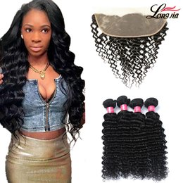 Discount human hair deep curly weave closure - Deep Wave Human Hair With Frontal 13x4'' Human Curly Bundles with frontal Closure Peruvian Deep Wave frontal H