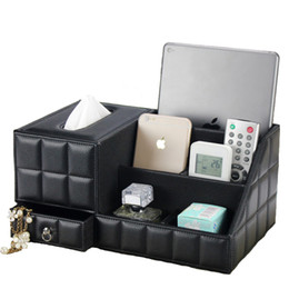 Discount office boxes - Multipurpose Desk Organizer Leather PU Vintage Office Desk Storage Box Black Classic Pencil Holder Stationery Collection