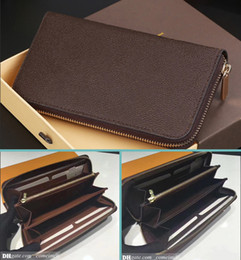 Wholesale Fashion Designer Clutch Genuine Leather Zippy Wallet with box dust bag good price