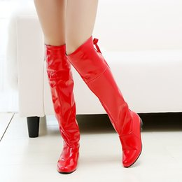 Black Blocks Canada - Long Boots Block Heels Sexy Women Shoes Fashion Knee High Boots Patent Leather Fur Shoes Black Red Winter Big Size 43