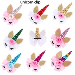 hair feather supplies UK - Princess Unicorn Hair Bands Flower Headband Cat Ears Girls Hair Sticks Hair Bows For Cosplay Birthday Party Supply