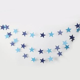 hanging decoration hearts UK - Colorful Star Love Heart Paper Garland Hanging Banner Birthday Bunting Flags Banners Decoration Wedding Party Christmas Navidad