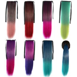 synthetic hair drawstring ponytail NZ - Drawstring Ribbon Ponytail synthetic hair pieces ombre straigt ponytails 24inch 100g Pony tails hair extensions customized free shipping