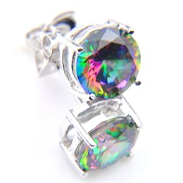 Chinese  Free Shipping High Quality Fashion Earring for party Particular Fire Mystic Topaz Gemstone 925 Silver Party Wedding manufacturers