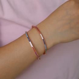 Inner Bezel Canada - Popular fashion rainbow bangle&bracelet chic zircon colorful bangle simple design girls delicate bracelet inner diamater 56-58mm