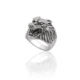 9e192a97bf43 Punk Animal Ring Men Gothic Vintage Silver Wolf Head Stainless Titanium  Steel Rings Cool Man Biker Finger Ring Jewelry Anillos