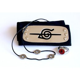 Headband Kits Australia - Cosplay Anime Accessories kit of Naruto Uchiha Itachi's anti-leaf headband+Necklace+Ring 3 items kit for Creative Gift