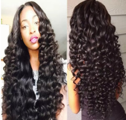 Sale Remy Full Lace Wigs Australia - On sale aaa new 100% unprocessed virgin remy human hair long natural color deep wave full lace wig for women