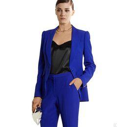 Taffeta Suits Canada - New Arrival Royal Blue Womens Business Suits Ladies Elegant Pants Suits Female Office Suits Interview Wear