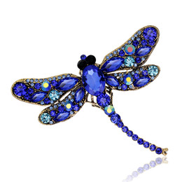 Large Lapel Suits Australia - Colorful Crystal Vintage Dragonfly Brooches for Women 9.1*7.5 cm Large Scarf Lapel Pins Suit Collar Brooch Fashion Dress Coat Accessories