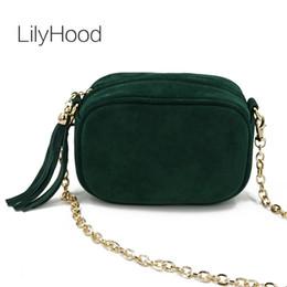 eee9ed3548 LilyHood Fashion Genuine Leather Shoulder Bag Summer Feminine Green Fringe  Tassel Mini Peekaboo Crossbody Bag With Gold Chain
