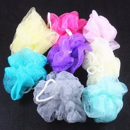 Wholesale Body Wash Products Australia - 3pcs Bath Balls Soft Plastic Solid Color Shower Wash Balls Cooling Bath Sponge Scrubber Body Flower Bathroom Products