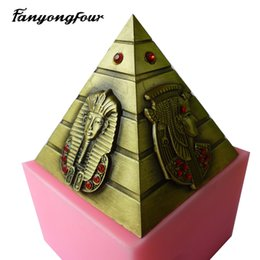 Mold free candle online shopping - Egyptian pyramids silicone fondant cake mold silicone mold chocolate mold soap candle tools