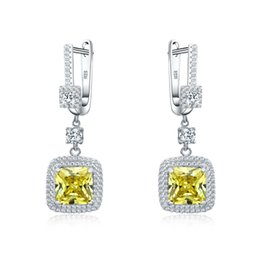 yellow cz earrings Canada - Hot Selling 925 sterling silver jewelry Yellow CZ earrings for women Top quality gift box English Lock