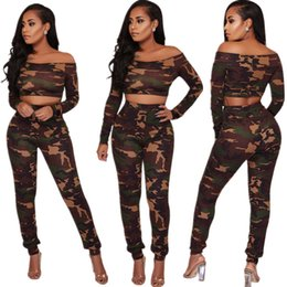 Wholesale Summer Bodycon Dress Two Piece Pants Wrap Chest Fashion Casual Dresses Camouflage Suits Women Two Piece Sets Long Sleeve t Shirts and Pants