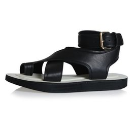247a8657a Women Sandals With Thick Bottom Summer Newset Foot Ring Belt Buckle Cross  Belt Clip Toe Rome Flat Sandals Mujer