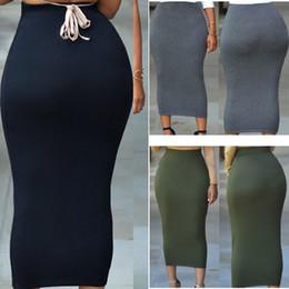 Navy polyester skirt online shopping - Long polyester spandex Maxi Skirt Women Casual Slim High Waist Bodycon Pencil Elastic Skirt Stretchy Saias Femininas Skirt Navy Grey Green