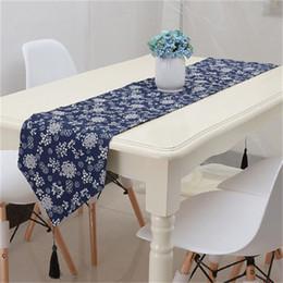 Table d'impression de style ethnique rétro Runner Motif décoratif bleu Drapeau drapeau tissu art super doux Tables uniques Qualité de tissu 23qcb4 z en Solde
