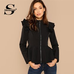 e01a8f1a5e Sheinside Autumn Zip Up Peplum Coat Women Ruffle Outerwear Elegant Office  Ladies Workwear 2018 Black Womens Jackets And Coats