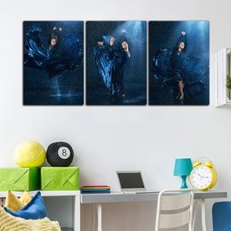 modern beauty canvas print NZ - 3 Panel HD Printed Modern Oil Painting Blue Sexy Beauty Ballet Poster On Canvas Home Wall Art Picture Set For Living Room Decor