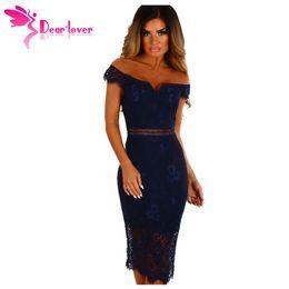 Dear Lover off shoulder dresses Sexy Party Elegant Summer Women Navy Lace  Bardot Midi Dress Vestido de Renda Robe Femme LC61975 a2f634f2555a