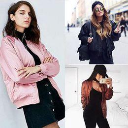 Womens Outwear Jackets Canada - Fashion Women Ladies Classic Casual Bomber Jacket Vintage Zip Up Biker Outwear Womens Ladies Warm Long Sleeve Solid Jackets