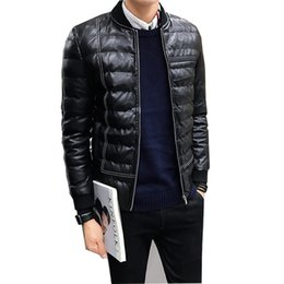 Mens Parka Leather Canada - Winter Jacket Men Black Leather Parkas Jacket Thick Warm Winter Mens Clothing Outerwear Male Winter Parkas