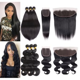 $enCountryForm.capitalKeyWord Australia - Brazilian Virgin Hair 3 Bundles with Lace Frontal Closure Straight Body Wave Hair Weaves Peruvian Hair Bundles with Closure Natural Color