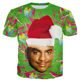 $enCountryForm.capitalKeyWord NZ - Newest Men Womens Fresh Prince of Bel-Air with Christmas Hat 3D Print T Shirt Tops Plus Size Style Outfit Funny Tees Top PunkU1125