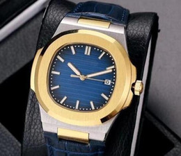 Luxury Watches Blue Australia - Free shipping 2018 LUXURY WATCH high quality leather band automatic Mechanical watch blue dial stainless steel men mens watches